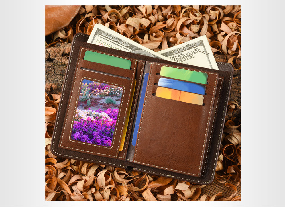 Dibao Leo Old Classical  Style Tidy Line Zipper Decoration Multi Card Bits Wallets for Men