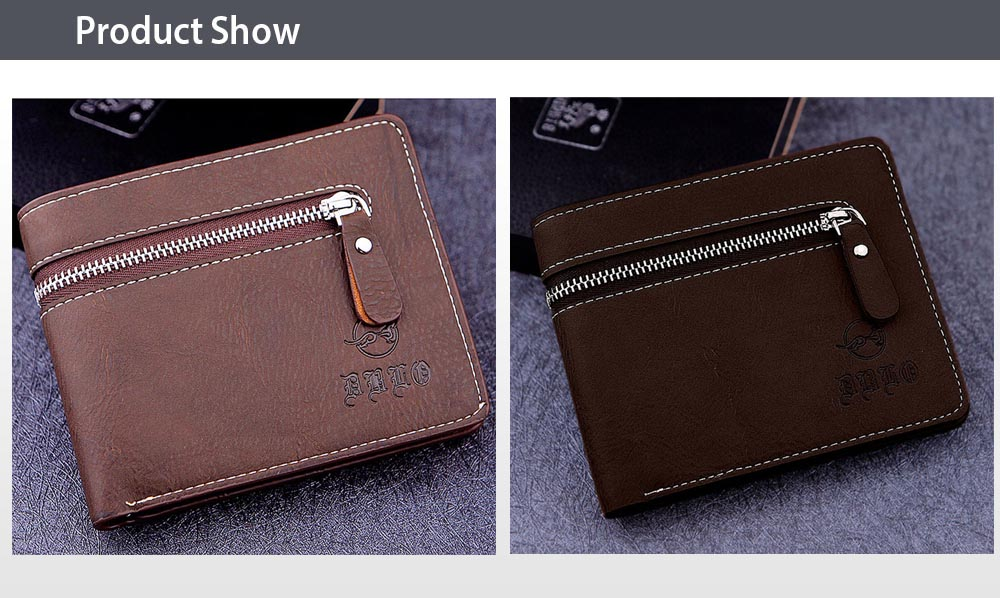 Dibao Leo Old Classical  Style Tidy Line Zipper Decoration Multi Card Bits Wallets