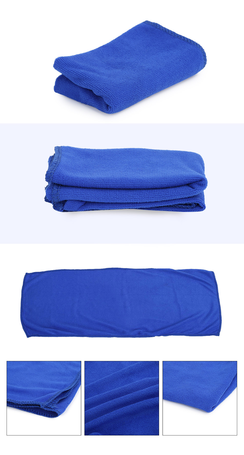 30 x 70cm Multi-purpose Microfiber Cleaning Cloth Absorbent Waxing Towel- Blue