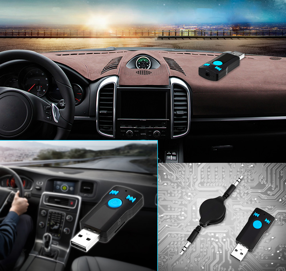 Vehicle Bluetooth Receiver Audio Transmission Music Play Hands-free Call Adapter