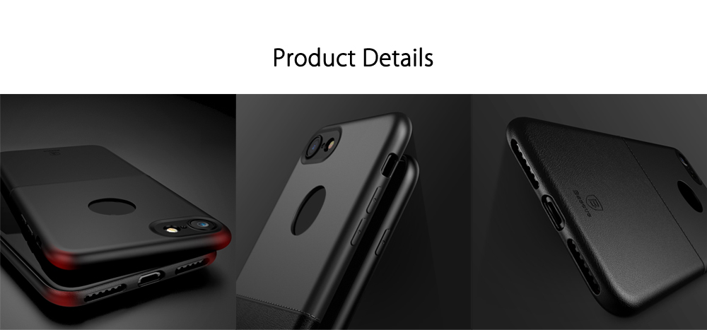 Baseus Half to Half Case Solid Color Protective Skin for iPhone 7- Black