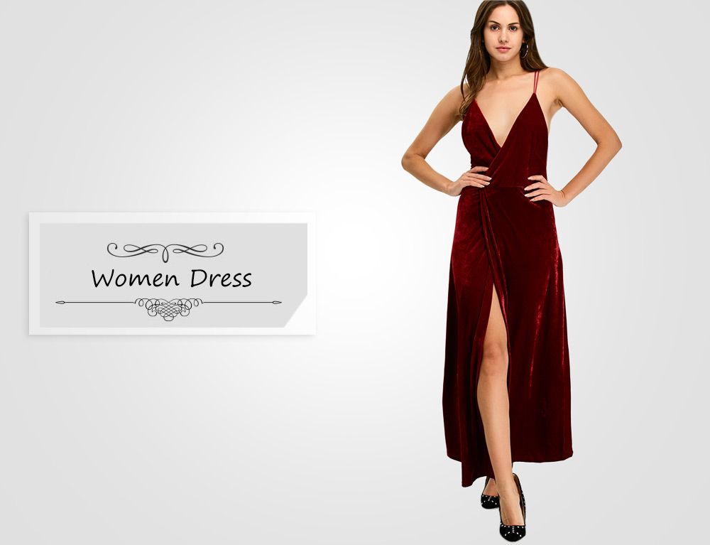 Sexy Spaghetti Strap Plunging Neck Backless Slit Design Dress for Women