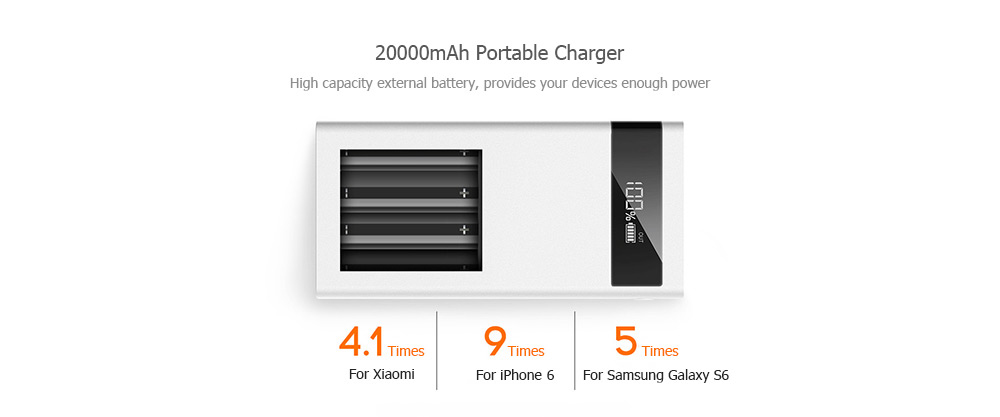 Teclast T200CE 20000mAh External Power Supply 4 Output 8 Pin Micro USB Dual Input Intelligent Digital Display