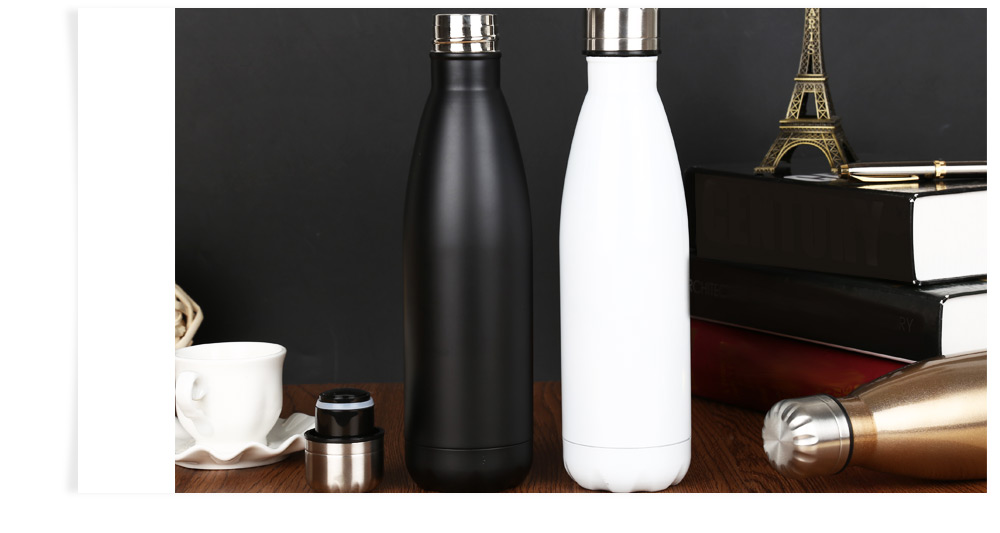 500ML Cola Style Stainless Steel Water Bottle- Silver