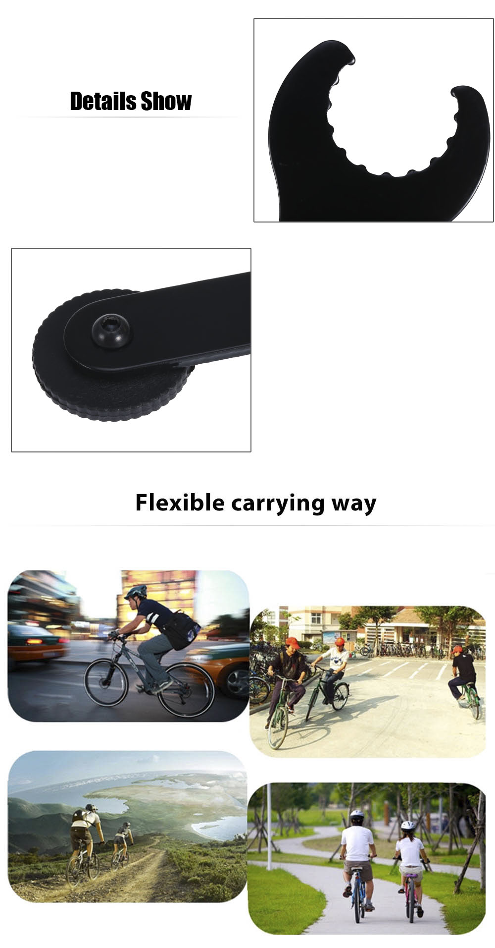 New Bike Bicycle Portable Repair Tools Black Shaft Gear Hub Axle Spanner Wrench