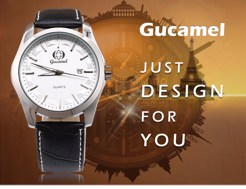 Gucamel B006 Men Quartz Watch Leather Band Date Display Wristwatch