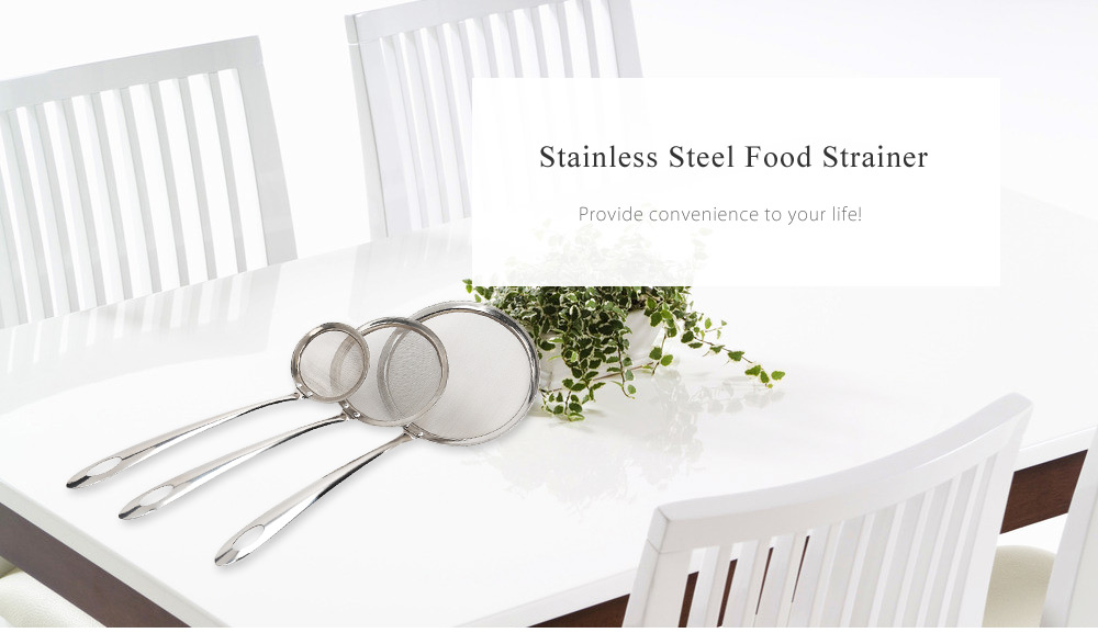 Multifunctional Stainless Steel Food Strainer Filter Oil Removal Kitchen Accessory- Silver LARGE SIZE