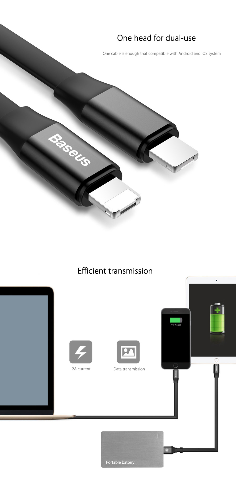 Baseus Simple Series 2 in 1 8 Pin + Micro USB Transfer Data Synchronization Charging Cord 23CM
