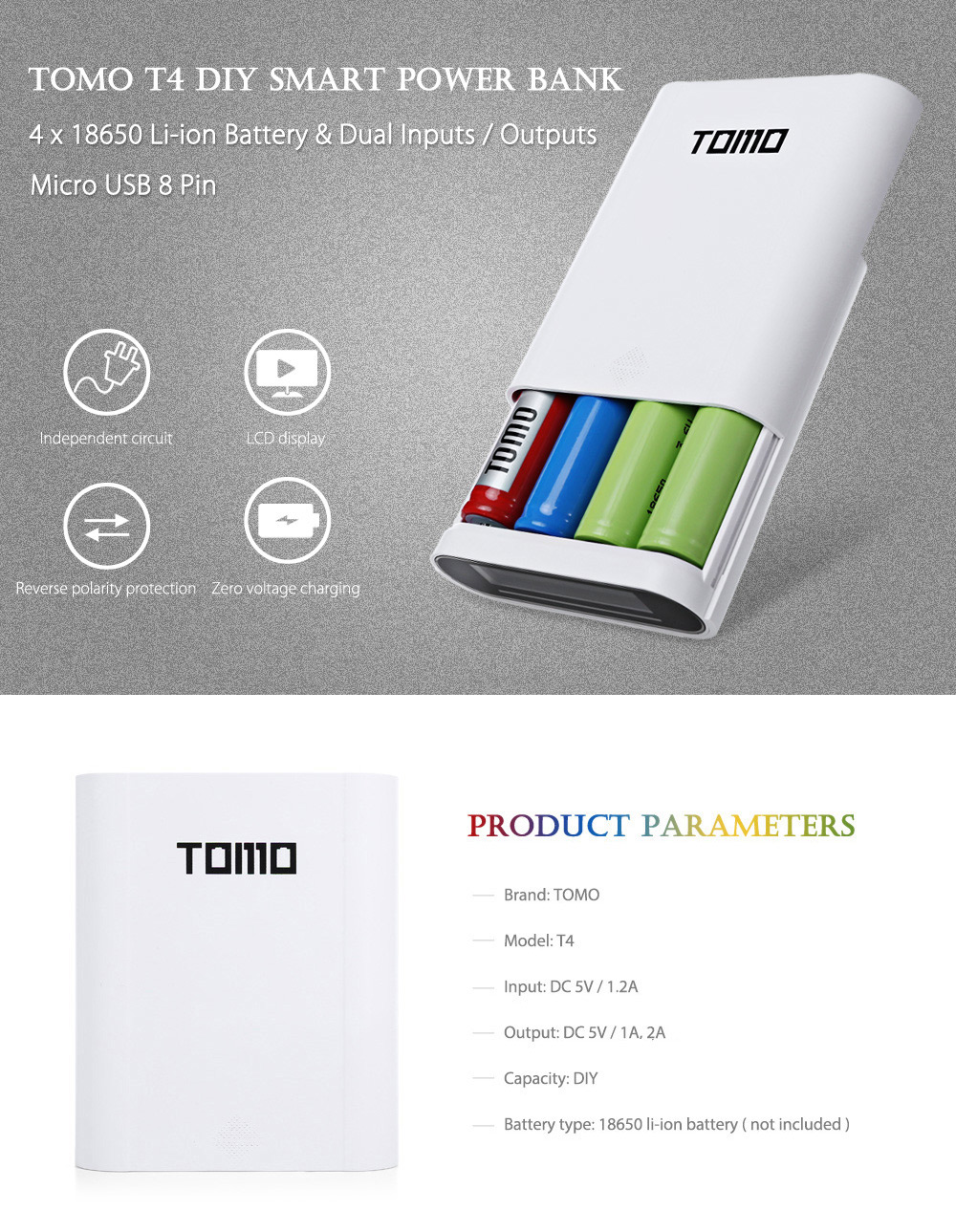 Tomo T4 4 X 18650 Li Ion Battery Diy Smart Power Charger 1416 Dc Shade Motors Can The Polarity Be Reversed With A Simple Switch Bank Micro Usb 8