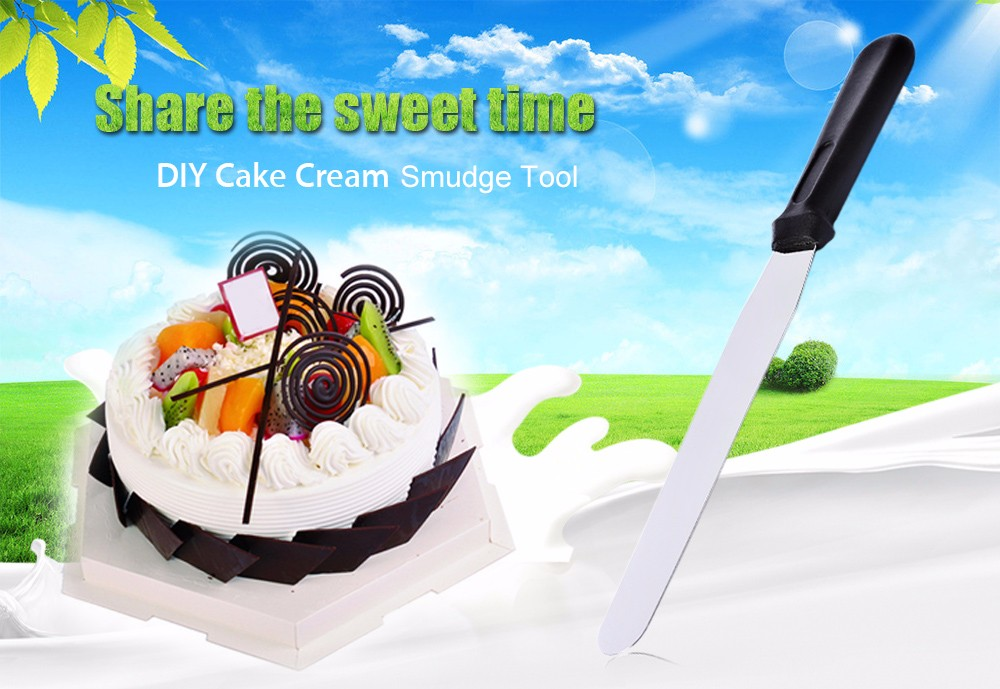 DIY Stainless Steel Cake Cream Fondant Straight Smoother Smudge Tool- Silver 8 inch