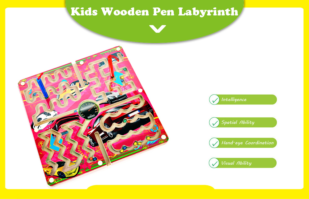 Child Wooden Magnetic Pen Labyrinth Puzzle Toy Developmental Learning Intellectual Game