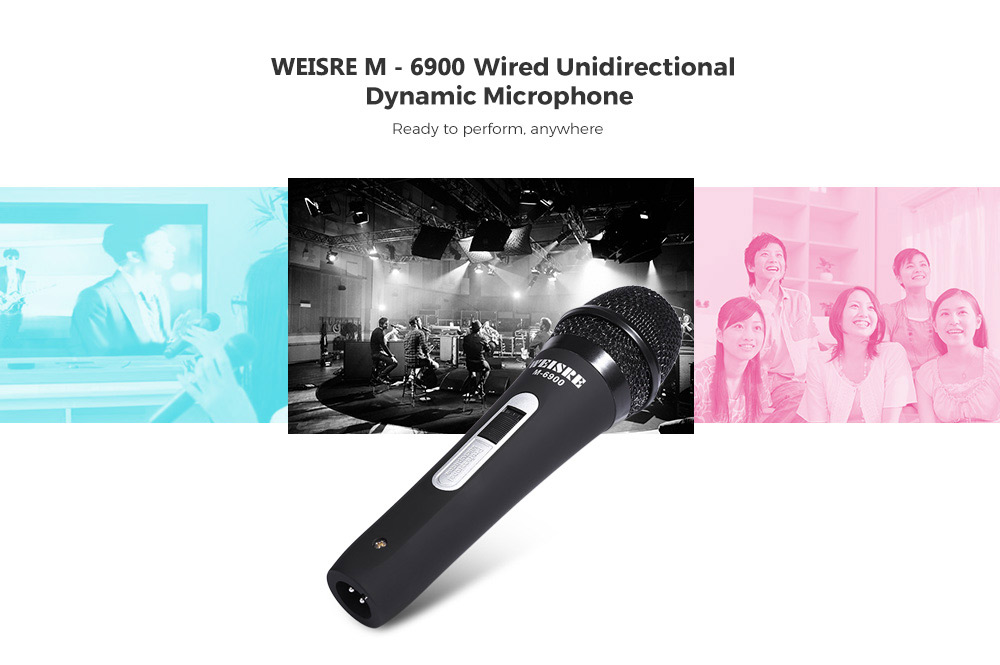 WEISRE M - 6900 Wired UnidirectionalDynamic Microphone for Home Stage Use- Black