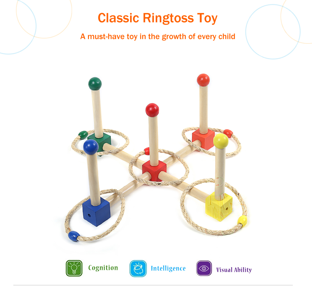 Child Wooden Outdoor Fun Sports Cast Ring Layer Up Throwing Game Toy