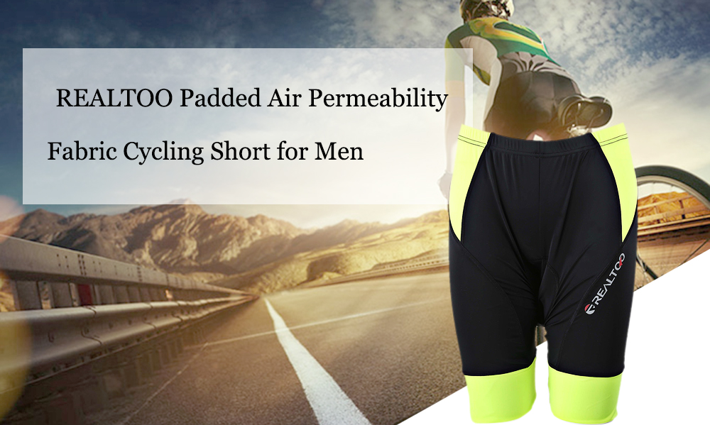 REALTOO Padded Air Permeability Fabric Cycling Short for Men