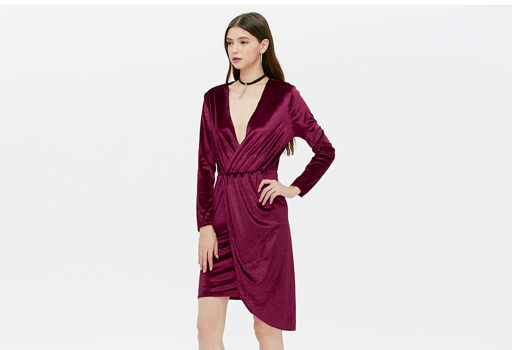 Brief Long Sleeve Plunging Neck Asymmetrical Hem Dress for Women