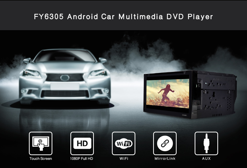 Package Contents: 1 X FY6305 Android Car DVD Player, 1 X Remote Control, 1  X GPS Antenna, 1 X ISO Wiring Harness, 1 X English Operating Manual