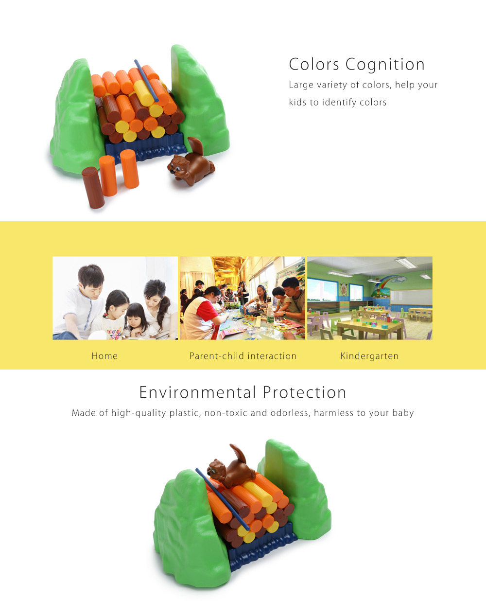 Colorful Balance Rolling Log Patience Training Education Toy for Baby Kids