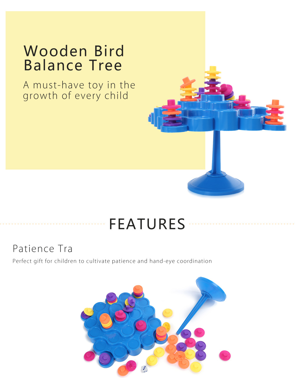 Colorful Balance Tree Patience Training Education Toy for Baby Kids