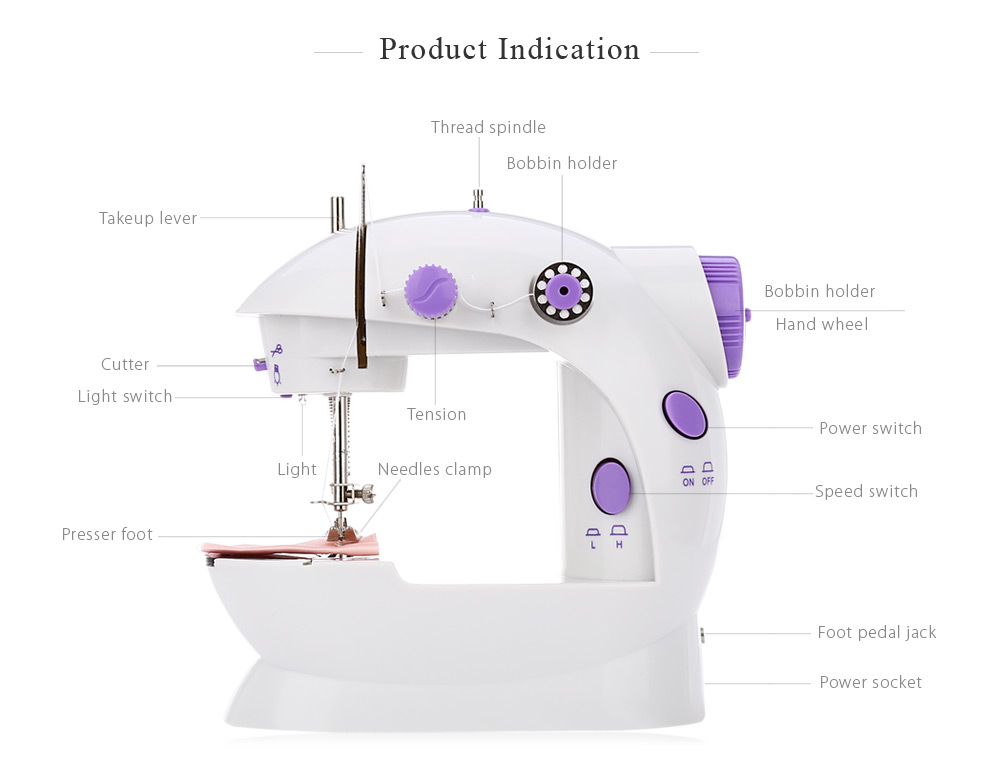 202 Mini Automatic Thread Sewing Machine Double Speed Control Button- Purple AU Plug