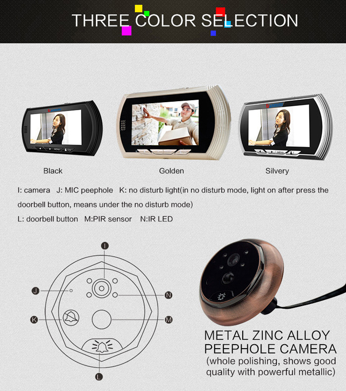 Danmini Smart Digital Door Viewer Peephole Camera Color Screen ...