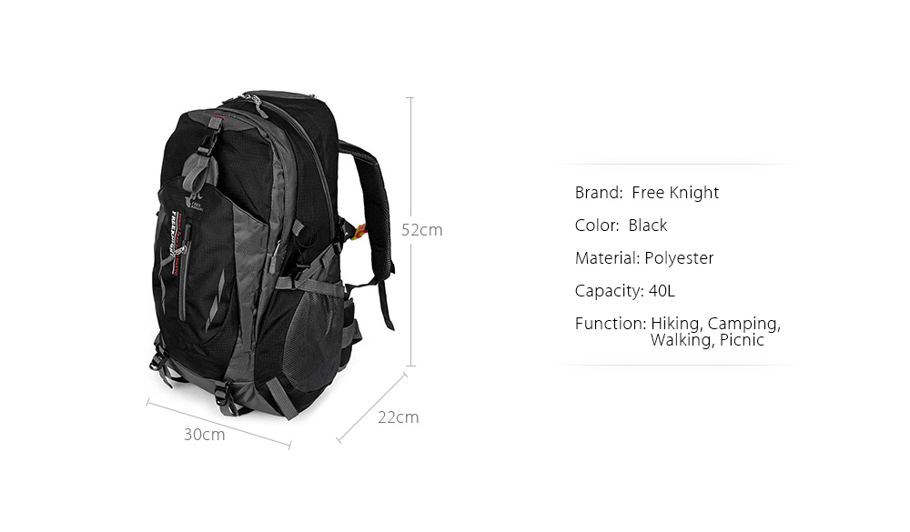 d79151645ad6 Free Knight Outdoor Hiking Rucksack Water Resistant Fabric Backpack Travel  Necessity Bag- Black