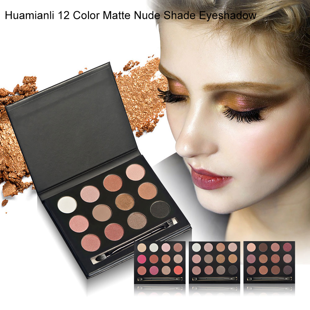 Huamianli 12 Color Shimmer Glitter Pearly-lustre Matte Nude Shade Eyeshadow