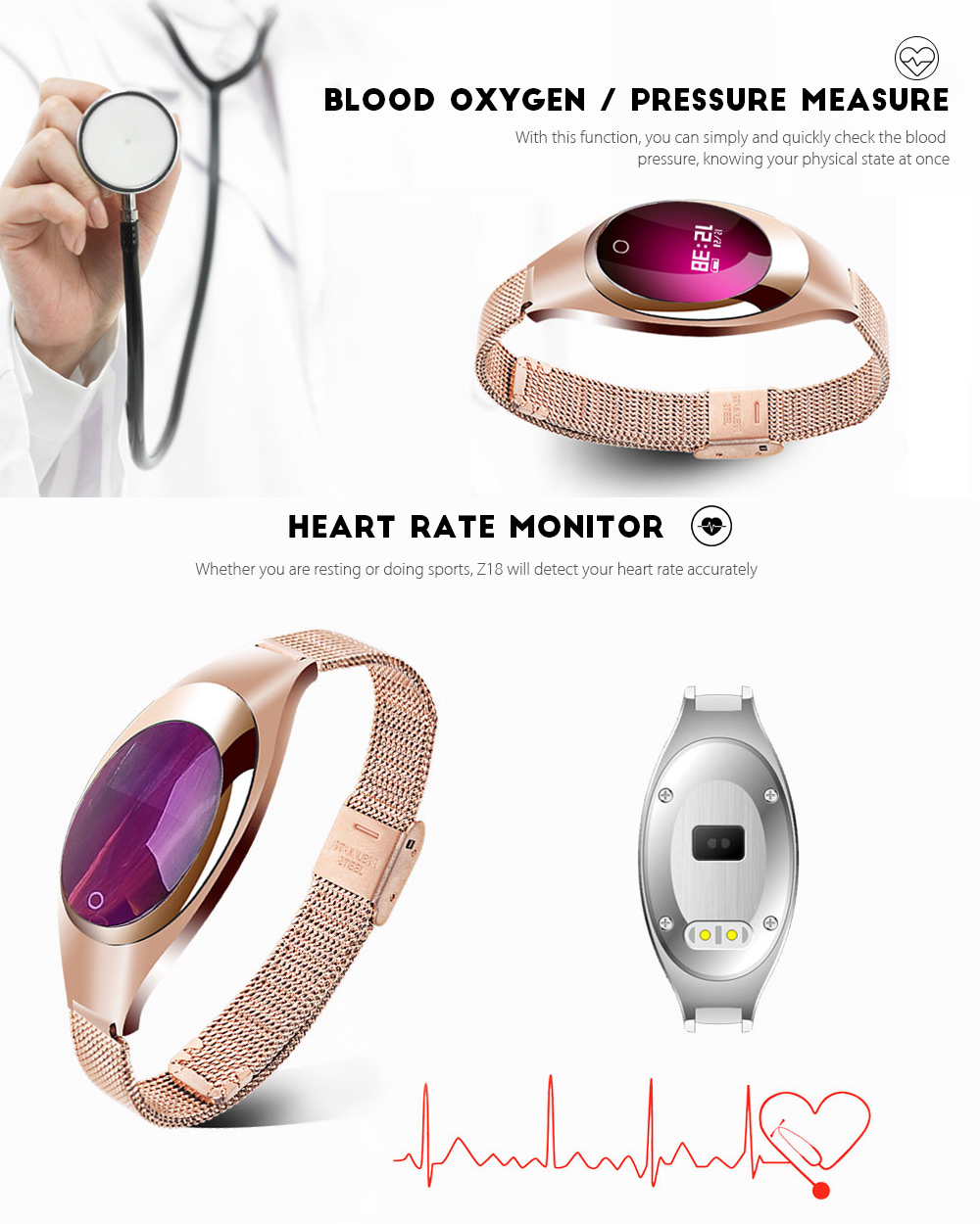 Z18 Heart Rate Blood Pressure Monitor Smart Bracelet for Women- Black