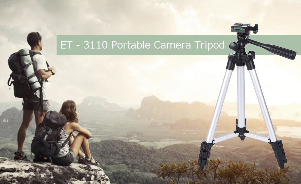 ET - 3110 Universal Portable Digital Camera Tripod Stand Lightweight for Canon Nikon Sony- Silver and Black