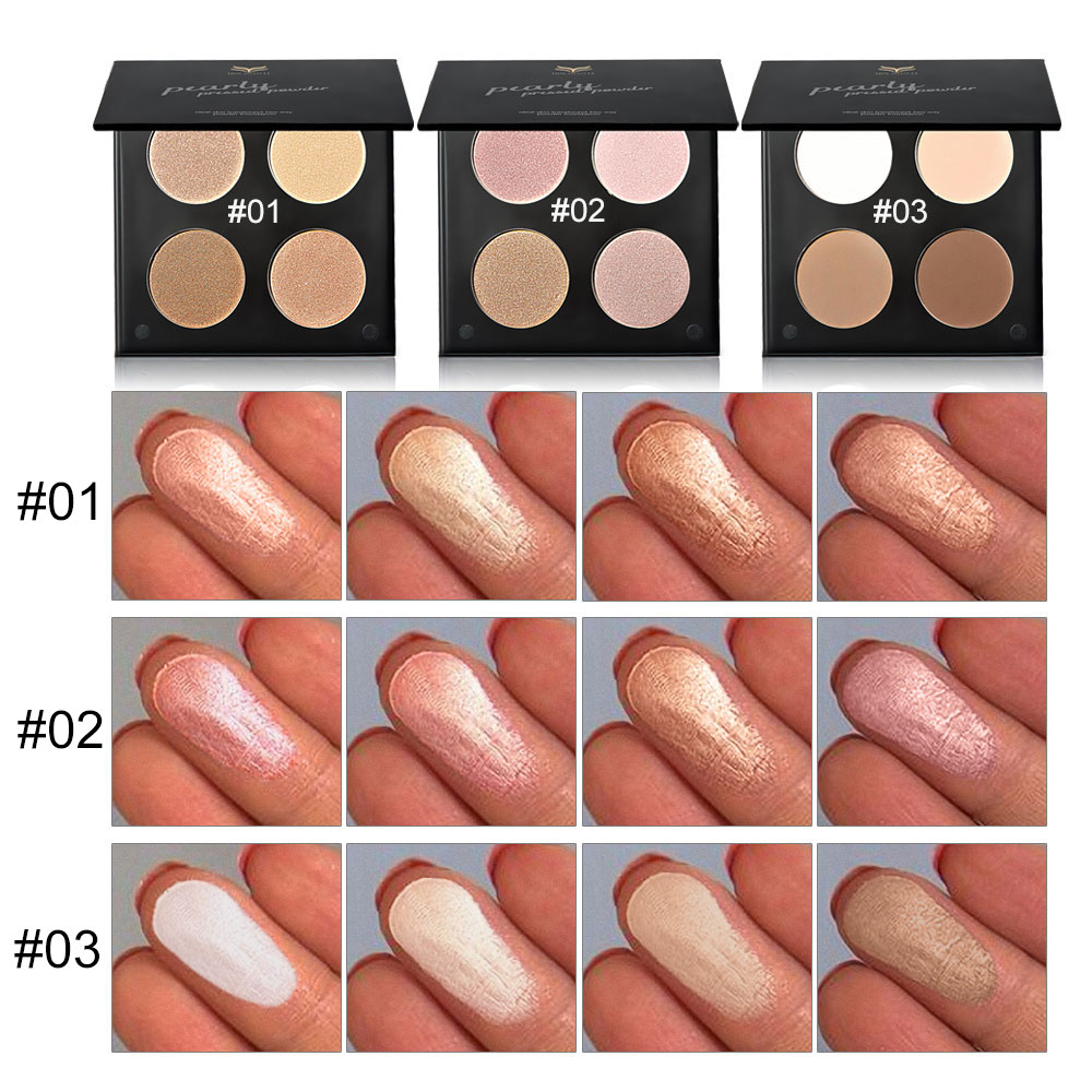 Huamianli 4 Color Grooming Pearly Matte Powder Eyeshadow