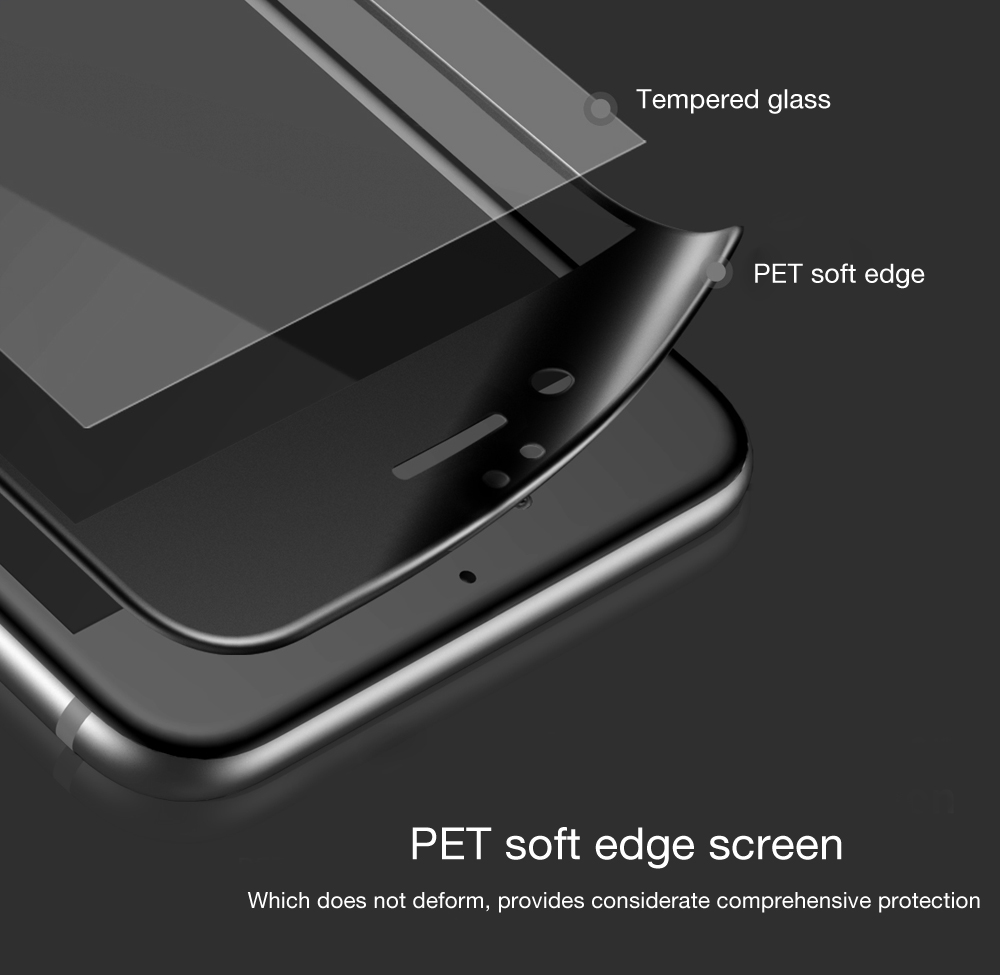 Baseus Frosted Tempered Glass Soft Edge Shatterproof Full Screen Silk-screen Protective Film for iPhone 6 Plus / 6S Plus 0.23mm