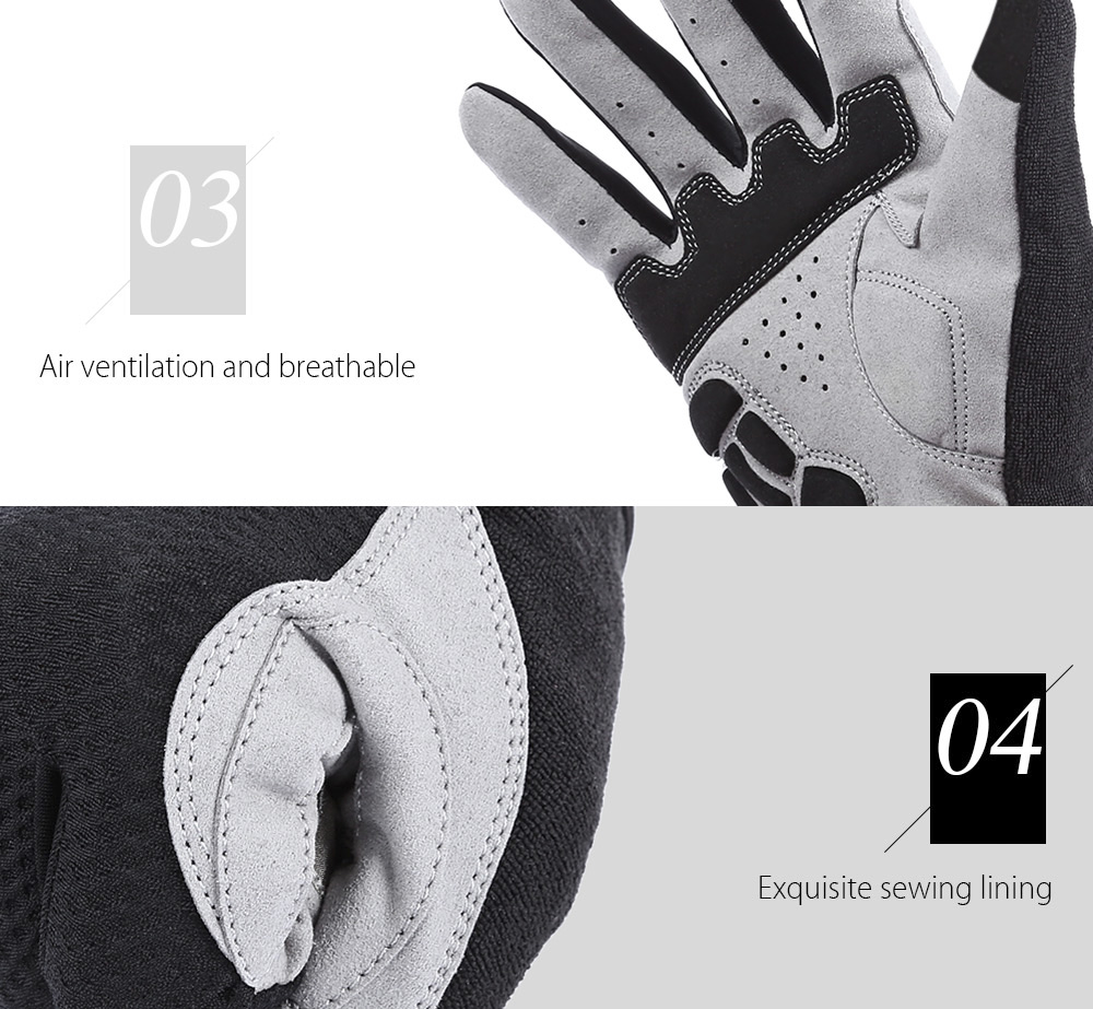 GUB 2025 Paired Touch Screen Cycling Warm Full Finger Gloves Unisex Outdoor Sport Bike Riding- Gray L