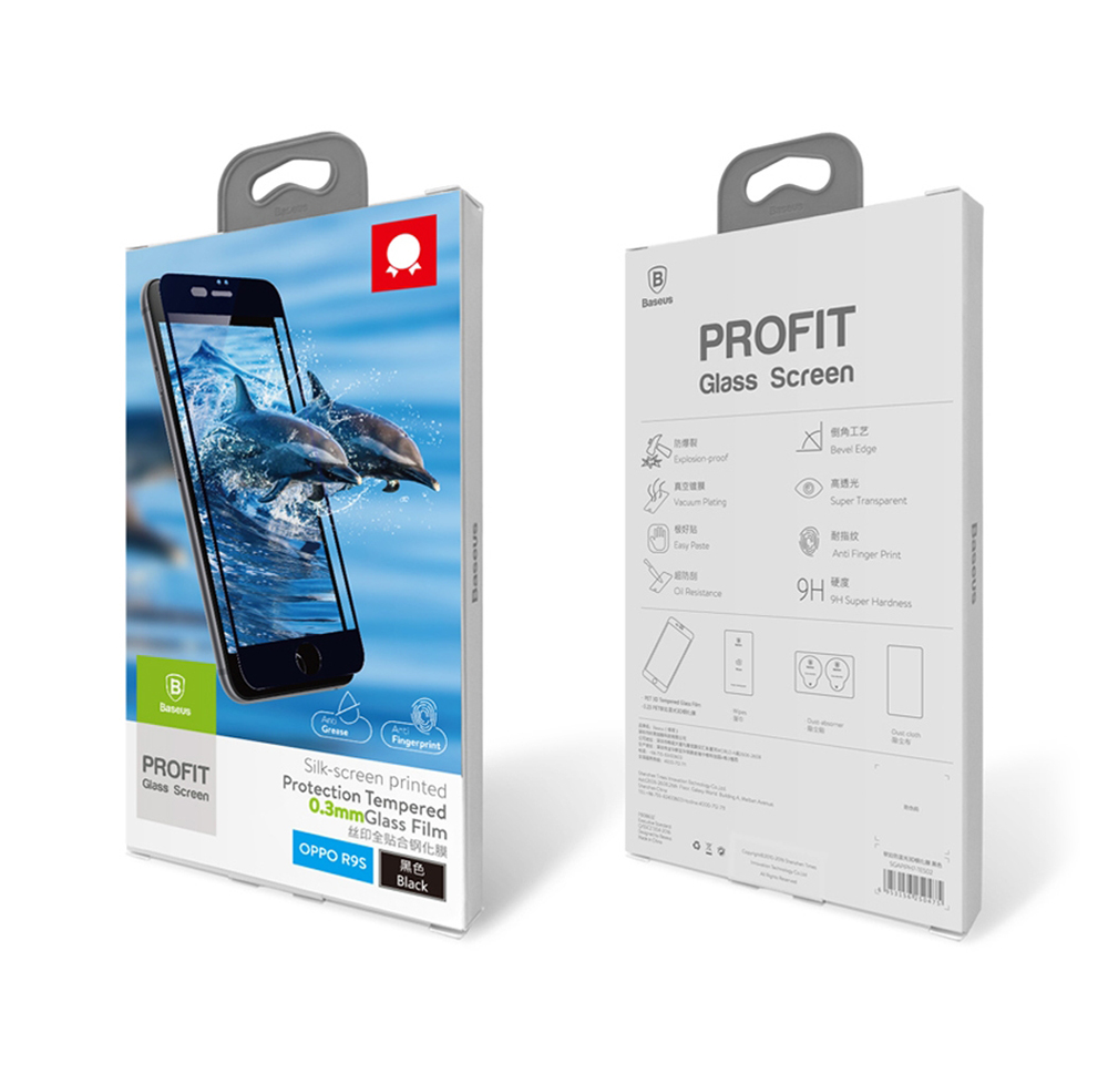 Baseus Tempered Glass Silk-screen Printed Full Edge Coverage Shatterproof Protective Film for OPPO R9s Plus 0.3mm