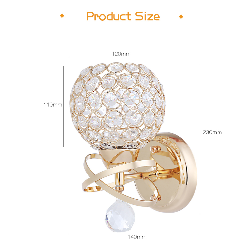 Modern Style Bedside E27 LED Crystal Wall Lights Bedroom Stair Lamp