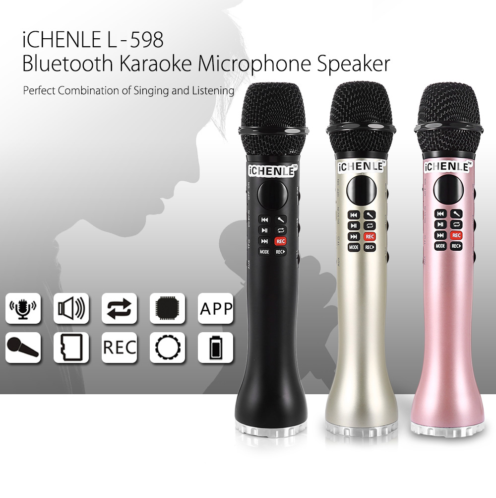iCHENLE L - 598 Bluetooth Karaoke Microphone Portable Speaker- Black