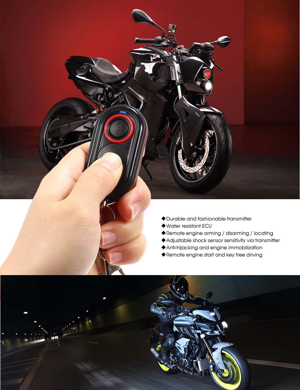Steelmate 986e Motorcycle Alarm System 2163 Free Shipping Download Image Yamaha Moto 4 Wiring Diagram Pc Android Iphone And Package Contents 2 X Transmitter 1 Ecu Speaker Wire Harness Fuse English User Manual
