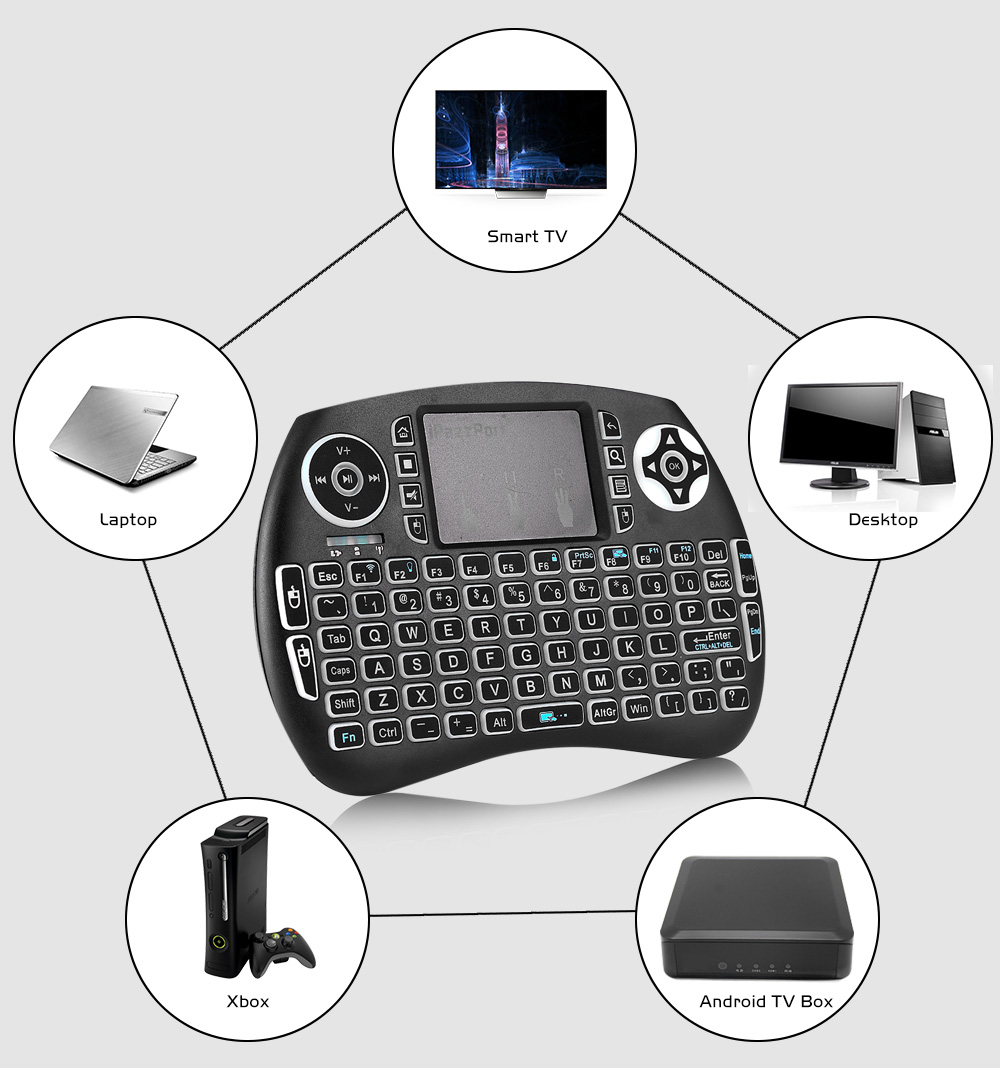 iPazzPort 21S Wireless Mini Keyboard Backlight Function with Touchpad