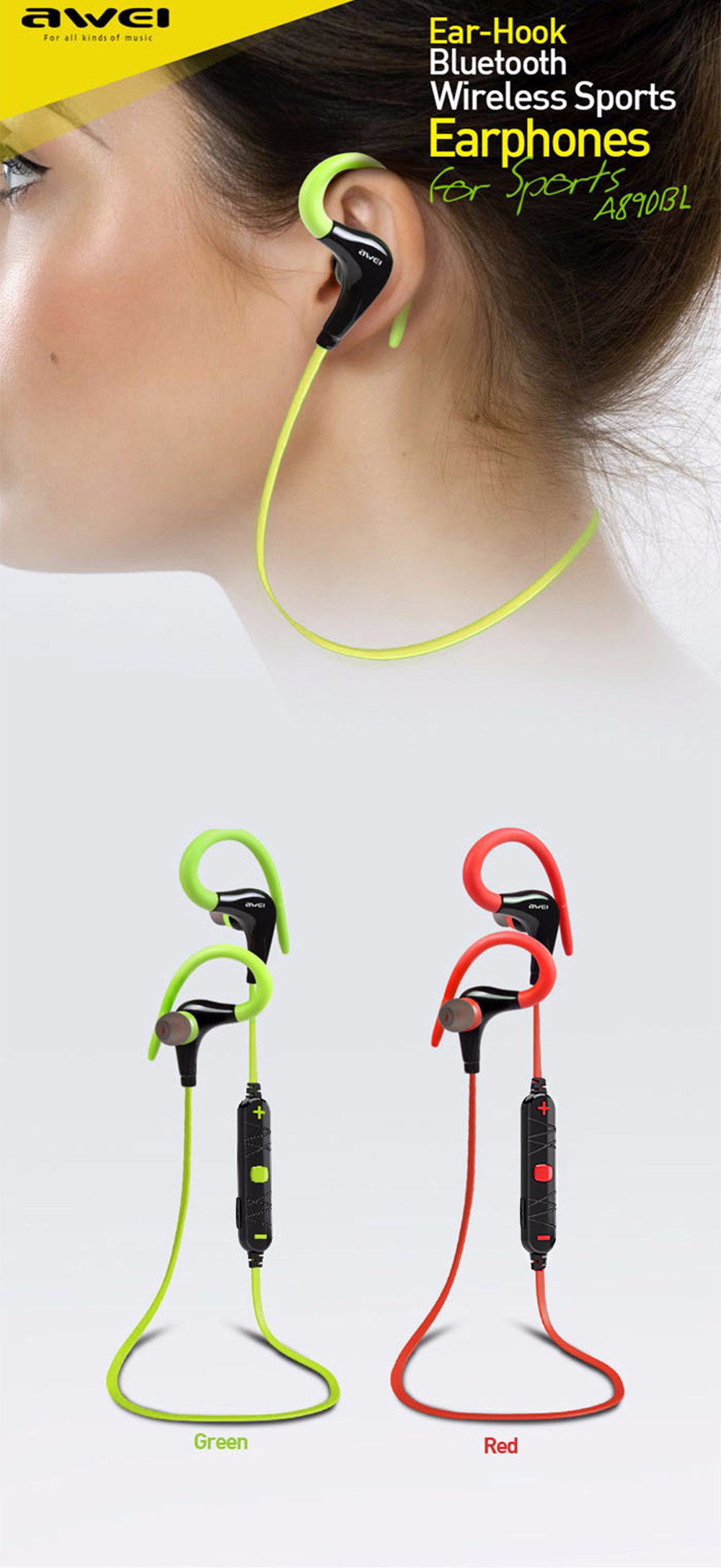 Awei A890bl Bluetooth 40 Wireless Sport Earphones 1779 Free Original A920bl Exercise Stereo Noise Reduction Earbuds Build In Microphone Sports Earphone With Handsfree Function Black