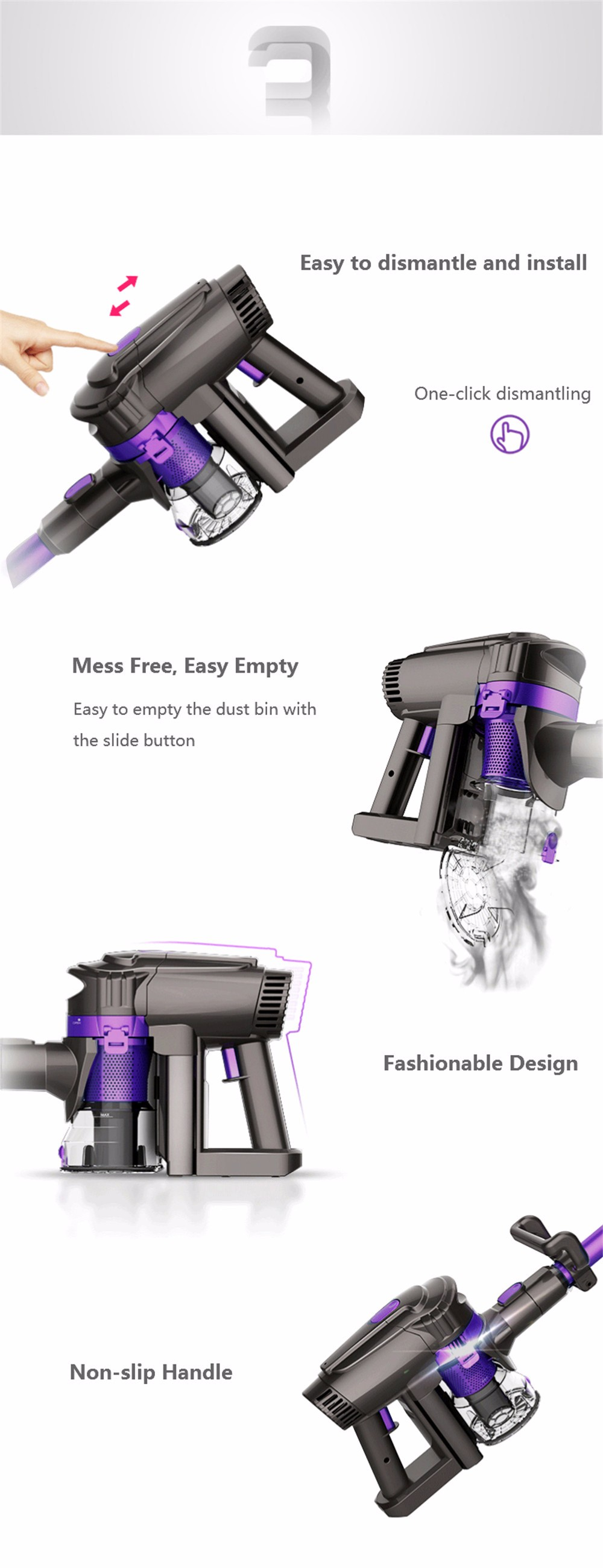 Dibea F6 2-in-1 Powerful Wireless Upright Vacuum Cleaner with Cleaning Cloth