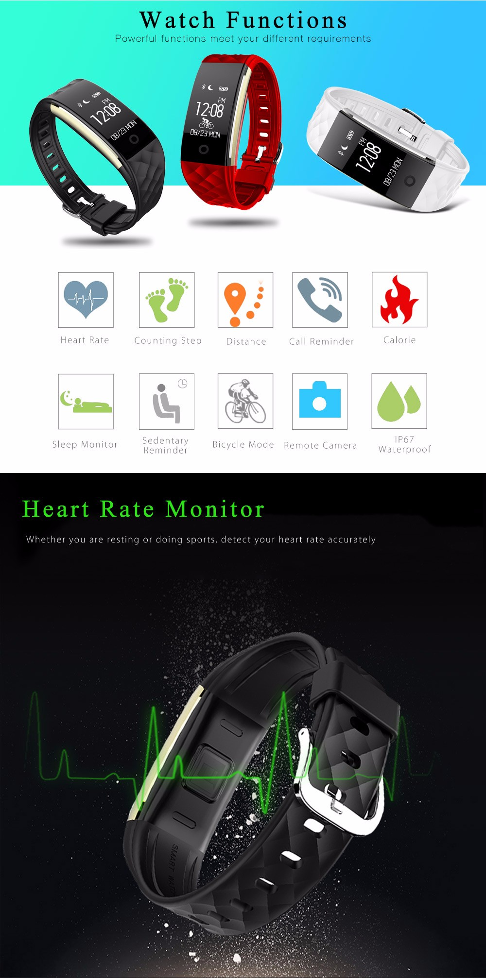 S2 Smart Bracelet Heart Rate Monitor Notification GPS Sport Tracker Watch