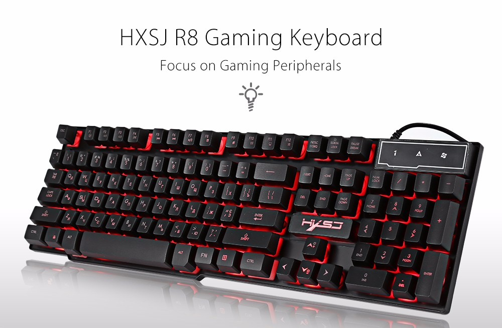 109cbfc4ac8 HXSJ R8 Gaming Keyboard with Backlight Function 104 Keys- Black