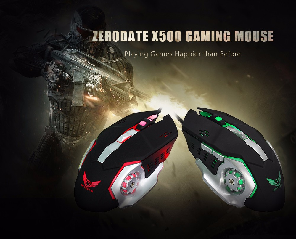 ZERODATE X500 Wired Gaming Mouse with LED Light