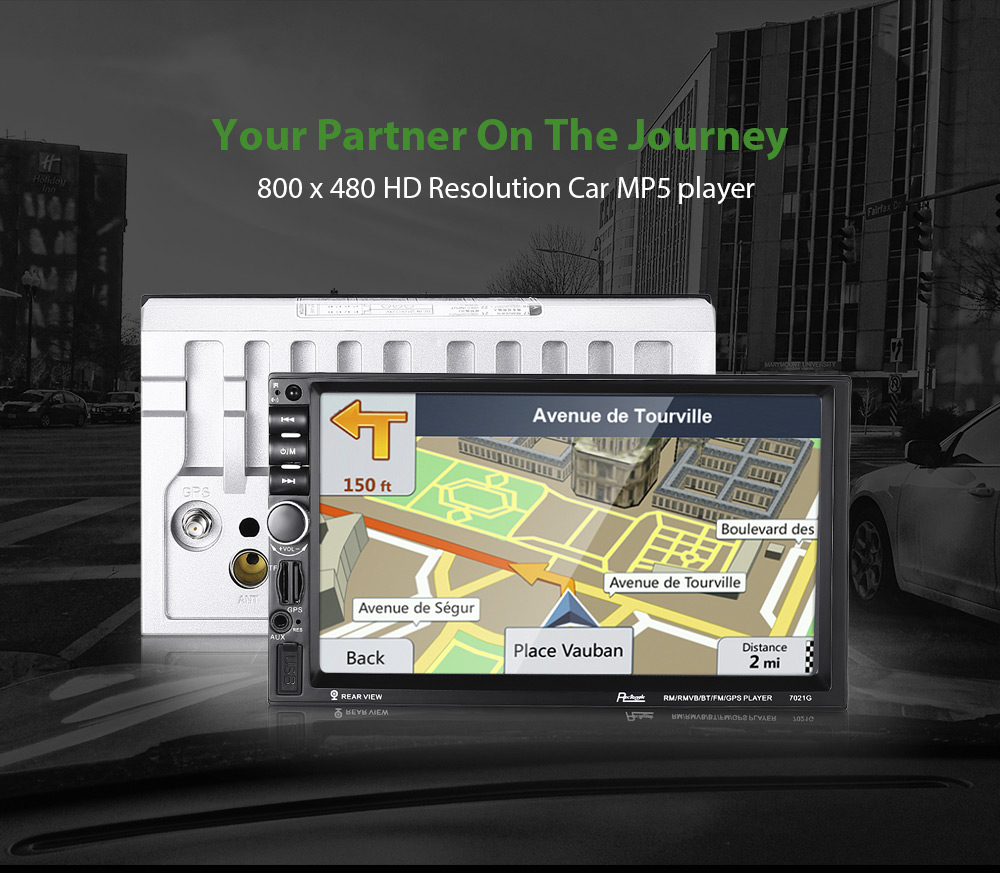 Rectangle 7021G 7 inch Bluetooth FM Radio GPS Car MP5 Player with 720P Camera European Map