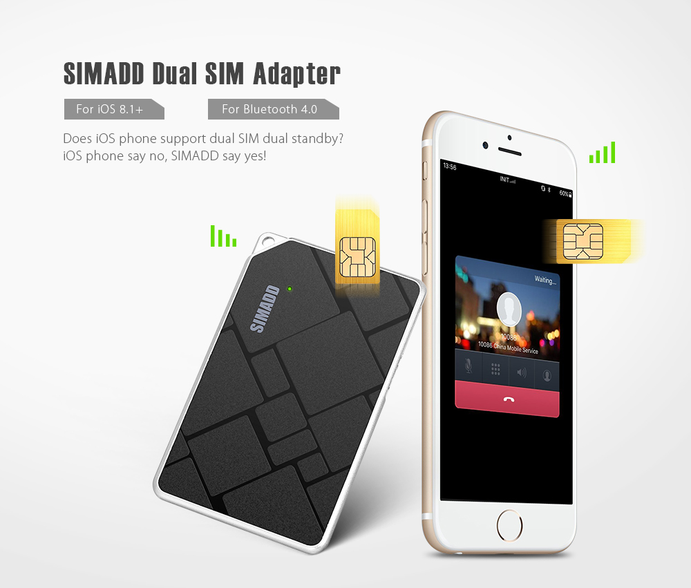 SIMADD Dual SIM Adapter Bluetooth 4 0 for iOS 8 1 and above