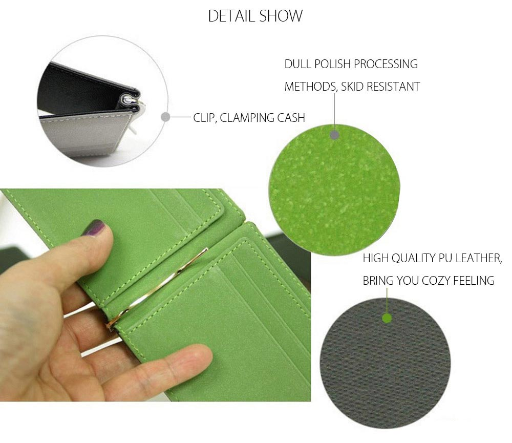 Letter Dull Polish Horizontal Hard Open Cash Clip Money Wallet for Unisex