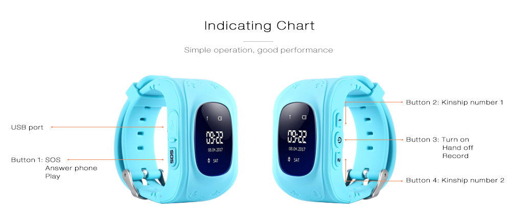 Q50 Children OLED Display GPS SOS Smart Watch Telephone- Blue Russian Version