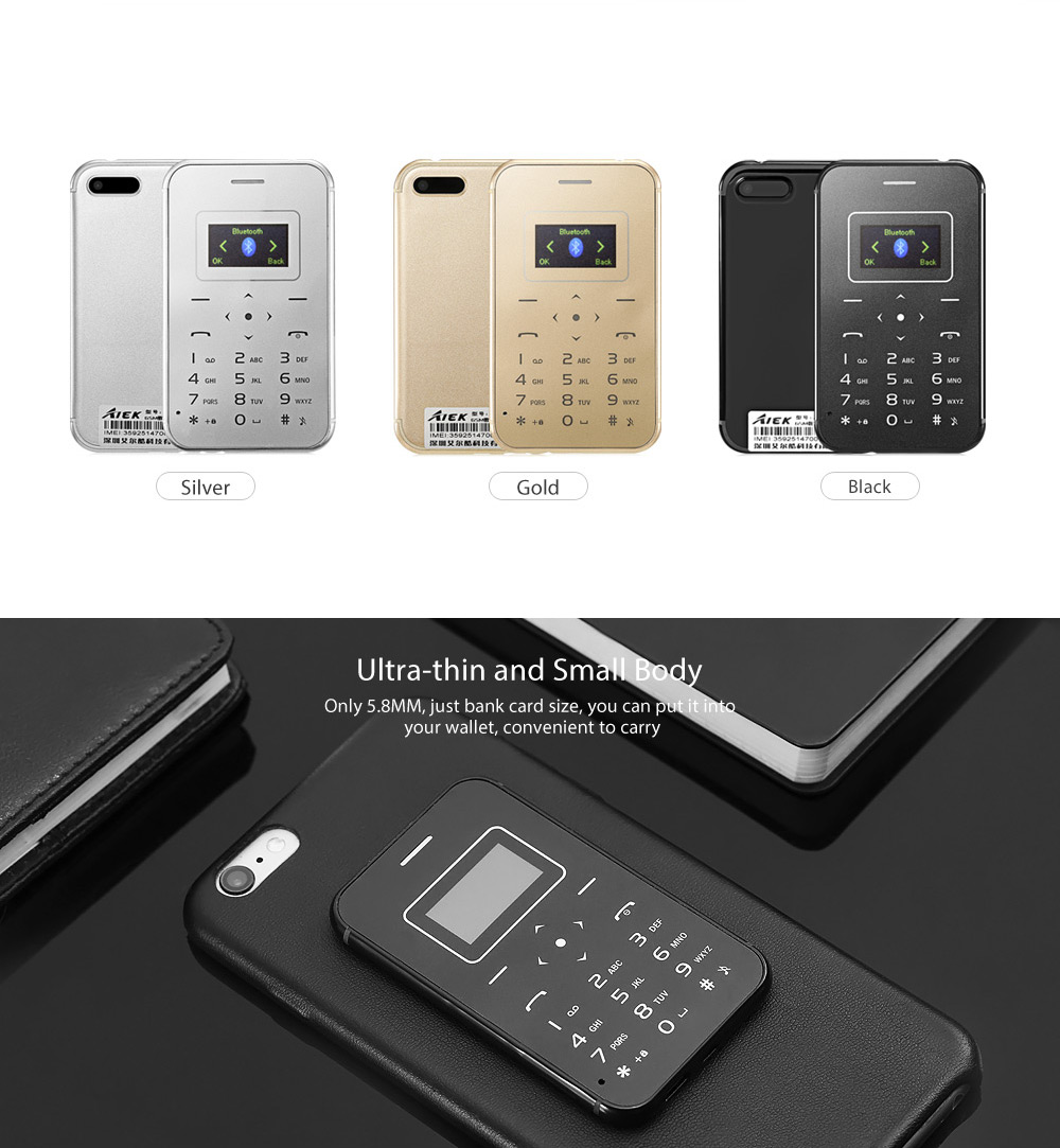 AIEK X8 1.0 inch Ultra-thin 5.8mm Card Mobile Phone Low Radiation with FM Radio Audio Player Alarm LED Torch