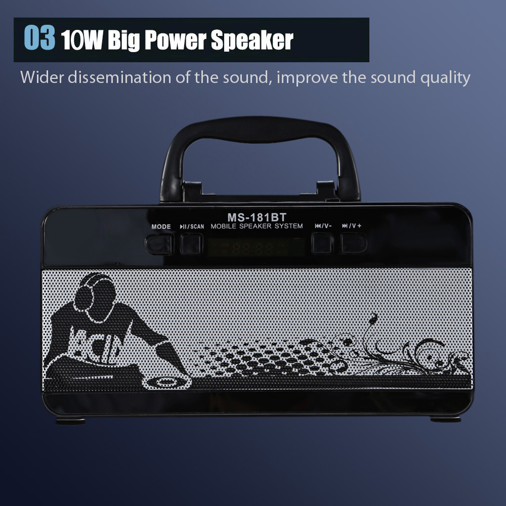 Redmaine MS - 181BT Portable High Power Output Multimedia FM Radio Wireless Bluetooth Speaker