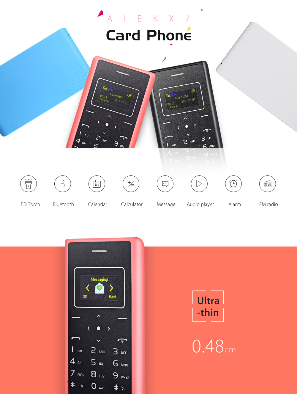 AIEK X7 1 inch Ultra-thin 4.8mm Card Mobile Phone Low Radiation with FM Radio Audio Player Alarm LED Torch