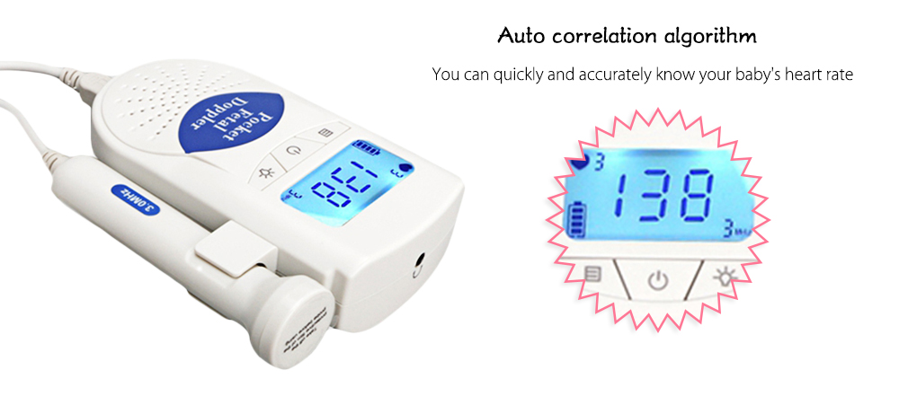 100S6 Pregnant Women Back Light Fetal Heart Monitor with LCD Digital Screen- Blue and White