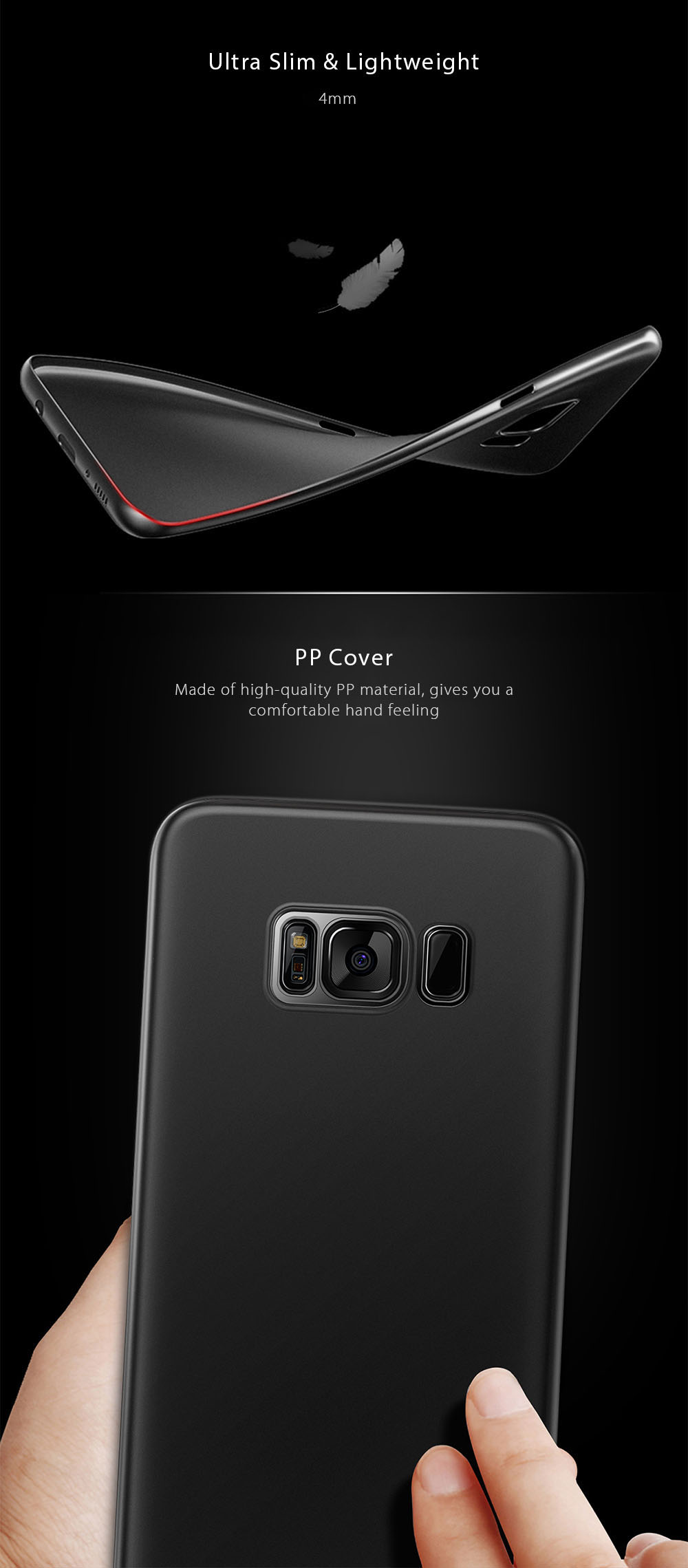 Baseus Wing Case Ultra Slim Light PP Protective Skin for Samsung Galaxy S8- Black